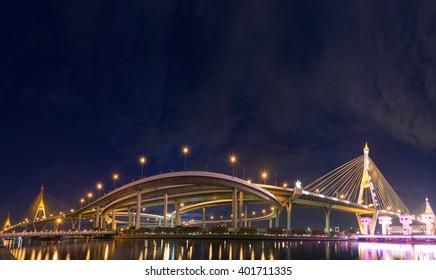 Landscape sunset of Bhumibol Bridge, Industrial Ring Road Bridge Panorama of Thailand