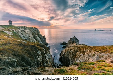 Landscape, sunset at the coastline in brittany, france
