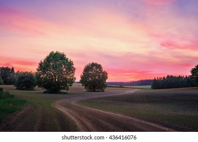 Landscape with sunset and countryside road