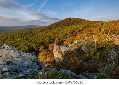 Landscape at sunset with forest and rocks from Studeny castle near Gymes, Slovakia - Shutterstock ID 2045756321