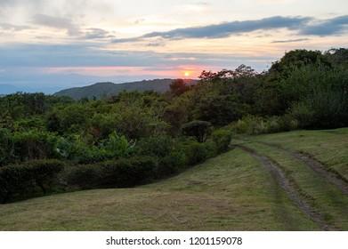 Landscape at sunset in Monteverde, Costa Rica