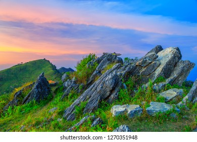Landscape of sunset on Mountain at Doi Pha Tang, ChiangRai ,Thailand