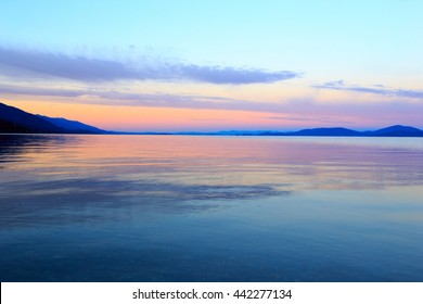 Landscape and sunset over Flathead Lake, Montana.