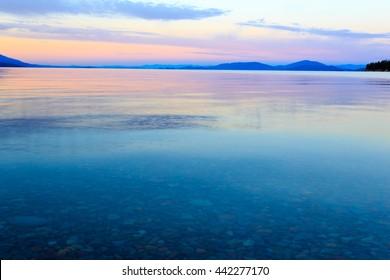 Landscape and sunset over Flathead Lake, Montana.