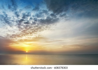Landscape, sunset at the sea