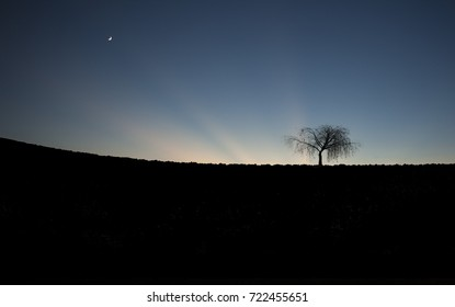 Landscape at sunset w/ moon