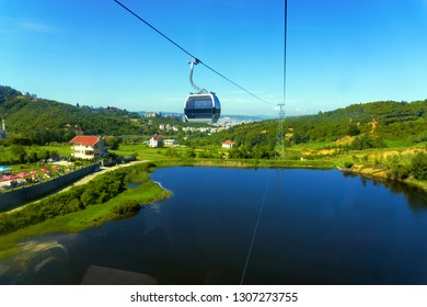Landscape of the surroundings of Tirana from the Dajti Express cable car.