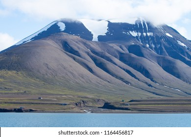 landscape of svalbard, norway. arctic mountains, ice and wilderness.