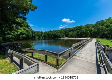 Landscape of the Swimming and Fishing Area in Colonel Denning State Park in Tuscarora State Forest in Pennsylvania