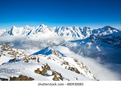 Landscape in the Swiss Alps near Piz Gloria and the Schilthorn summit.