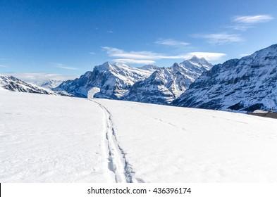 Landscape of the Swiss Alps, ski slope