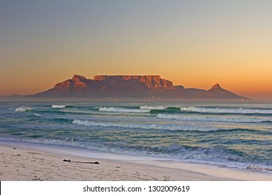 Landscape of Table Mountain, Cape Town, and  Table bay at sunrise