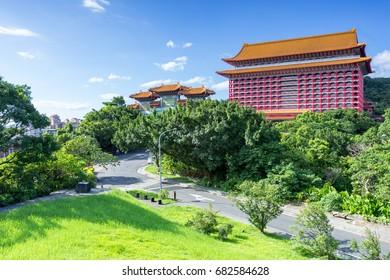 landscape of taipei city near yuanshan