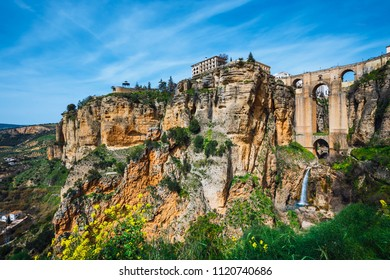 landscape with the Tajo Gorge and stone bridge, Ronda, Spain