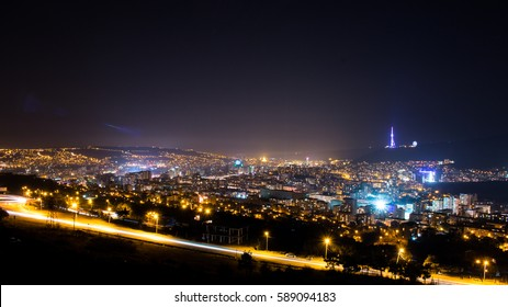 landscape of Tbilisi,Georgia at night.