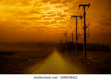 Landscape in the tea field with twilight vibrant orange sky background & electricity poles on the road