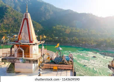 Landscape with temple and Ganga River valley in Rishikesh, India