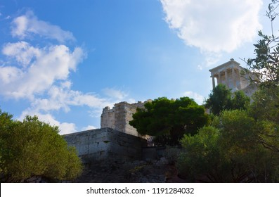 Landscape with Temple Parthenon at the Acropolis at the top - Greece