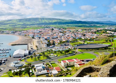 Landscape in Terceira Island, Azores, Portugal.  Aerial view