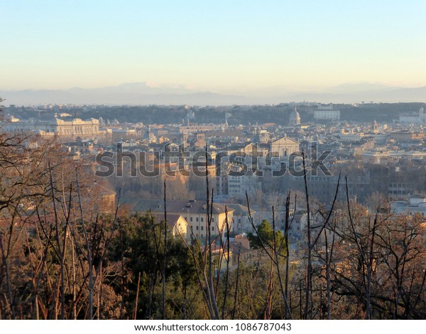 Landscape Terrazza Del Gianicolo Rome Italy Stock Photo