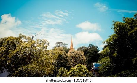 Landscape Thai pagoda on film tone.
