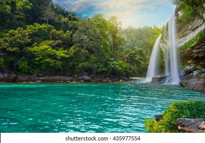 Landscape that is Colorful landscape and have sea,water,mountain,waterfall