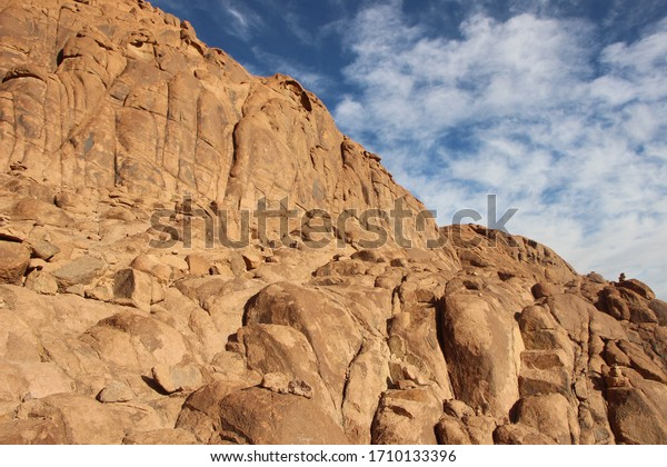 A landscape that is not the most beautiful in the rocky mountains in a majestic landscape in St. Catherine, Egypt