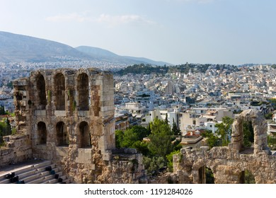 Landscape Theater Odeon, Temple of Parthenon and City Modern Athens