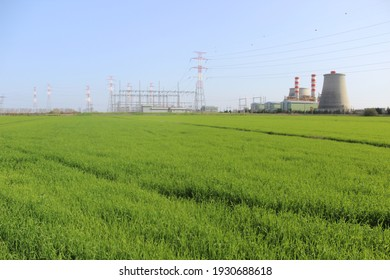 landscape of a thermoelectric power plant,  with green grass around
