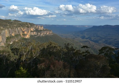 Landscape of The Three Sisters rock formation in the Blue Mountains of New South Wales, Australia, on the north escarpment of the Jamison Valley.