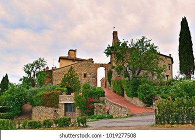 landscape of Tignano castle in the municipality of Barberino Val d'Elsa in Tuscany Italy. The origins date back to the twelfth century and is one of the best examples of a fortified medieval village