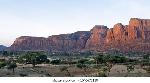 Landscape in Tigray province at sunrise, Ethiopia