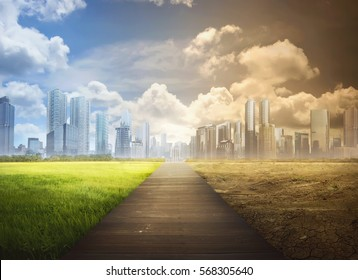 Landscape of timber pathway with the changing environment in the modern city