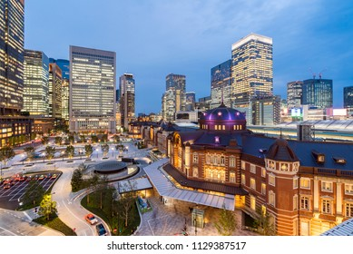 Landscape of Tokyo Station at dusk with building skyline