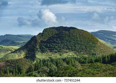 Landscape with top of Volcano crater in Azores islands, Terceira