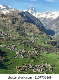 Landscape of Torgnon town in Valle d'Aosta, Italy, with Cervino mount in background