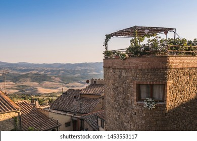 Landscape from the town of Volterra, in Tuscany, at sunset