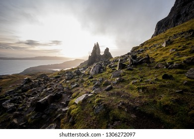 The landscape of track around the Old Man of Storr and the Storr cliffs, the famous attraction in Isle of Skye, Scotland, United Kingdom