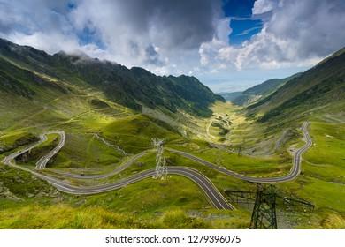 Landscape of the Transfagarasan mountain winding road.  Highway, the most beautiful road in Europe, Romania (Transfagash), Ridge Fagaras. Romanian Carpathians.