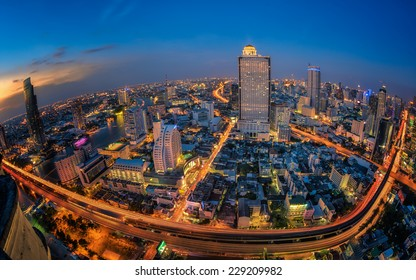 Landscape of transportation in Bangkok city in night time with bird view