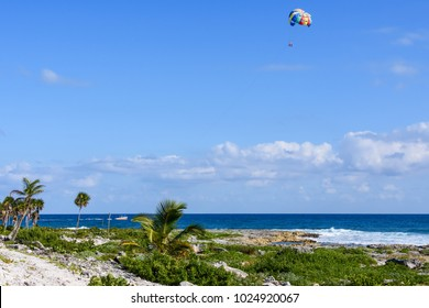 Landscape of a tropical beach with palm trees. Tourists parasailing in a blue sky.
