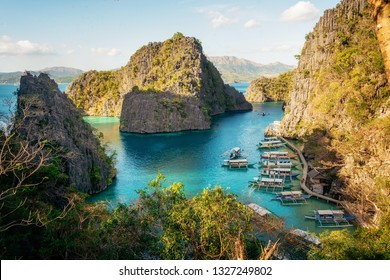 Landscape of tropical island. Areial view of bay, Coron island, Philippines.