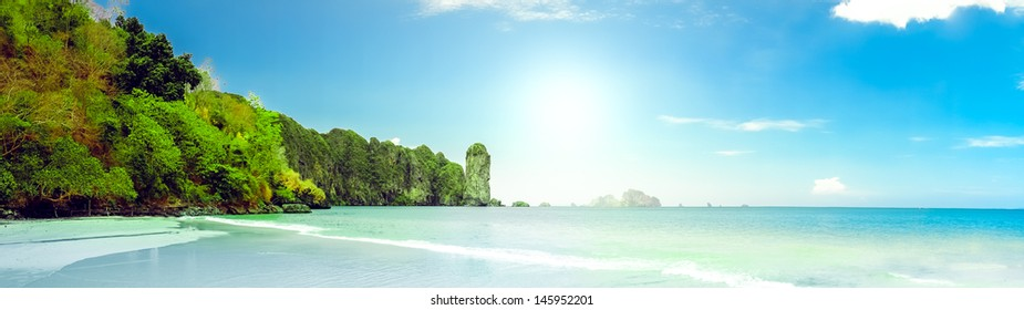 landscape of tropical island beach with perfect sky