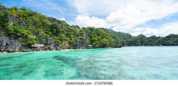 Landscape of tropical island. Coron, El Nido, Philippines. Banner.