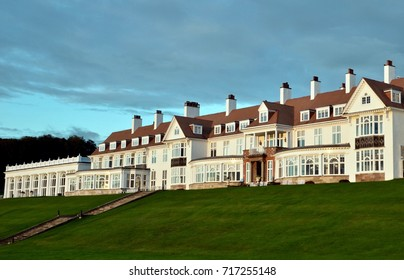 Landscape of Trump Turnberry Luxury Golf & Hotel resort in Turnberry, Ayrshire, Scotland UK. September 2017