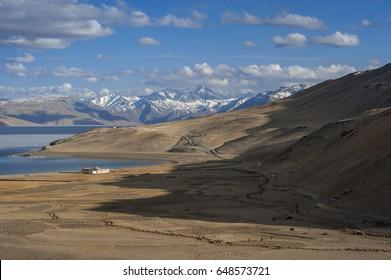 Landscape of Tso moriri lake of himalaya mountain in ladakh, leh india