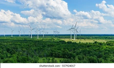 Landscape with Turbine Green Energy Electricity, Europe Estonia
