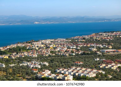Landscape Turkish village and Aegean sea near Balikesir-Edremit.