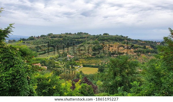 Landscape of the Tuscan country from Chiusi, Italy.