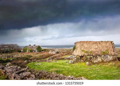 Landscape with two old abandoned  houses. Ireland